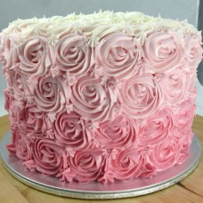 3 Layer Ombre Swirl Roses cake (D, V, 3L)