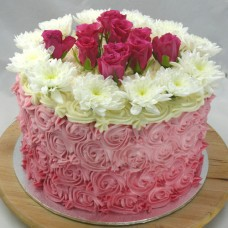 Flower - 4 Layer Ombre Swirl Roses with Fresh Flowers cake (D, V)