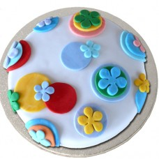 Fondant with Fondant Shapes Cake (D,V)