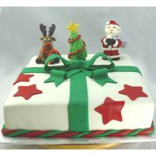 Christmas Cake - Gift Box with Santa Rudolph & Tree (D, V)