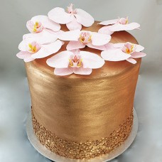 Flower - Rose Gold with Glitter and Fresh Flower Cake (D)