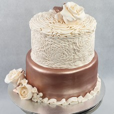 Flower - Ruffle Roses and Rose Gold Cake 2 Tier (D)