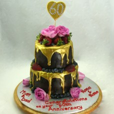 Flowers - Gold Drip with Fresh Fruit and Roses Cake (D,V)