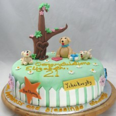 Dog - Labrador and Pups Cake (D, V)