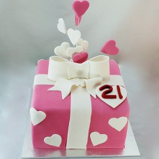 Gift Box - Upright Bow with Hearts Cake (D,V)