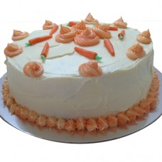Carrot Cake with Cream Cheese Icing, swirls and fondant carrots