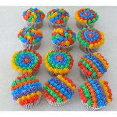 CupCakes with Rainbow Buttercream ($45 per dozen) (D,V)