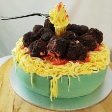 Food: Gravity Cake: Spaghetti and Meatballs