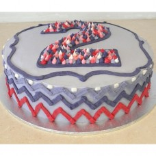 Buttercream Icing Chevron Cake with Number (D, V)