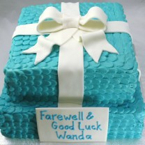 Gift Box: 2 Tier Petal Cake with Tiffany Bow (D, V)