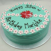 Buttercream with 2 Tone flower and flower border Cake (D, V)