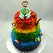 3 Tier Rainbow Dot cake with Figurine (D)