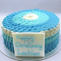 Christening Cake with Buttercream Petals (D, V)