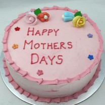 Mother's Day: Buttercream with Fondant Flowers, Ruffled Border (D, V)