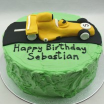 Car - Racing Car on Road Birthday Cake (D, V)