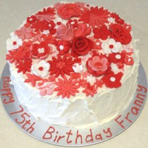 Buttercream Wavy Cake Covered with Fondant Flowers (D, V)