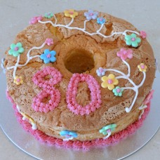 Chiffon Cake with Buttercream Number and Fondant Flowers (D)