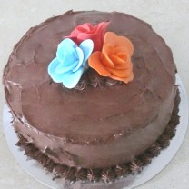 Chocolate Buttercream Waves with 3 Roses (D, V)