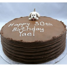 Dog: Chocolate Buttercream Curved Ridges & Fondant Dog (D, V)
