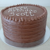 Chocolate Buttercream Ridges & Dot Border Cake (D, V)