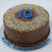 Chocolate Buttercream Sprinkle Border with Number (D, V)