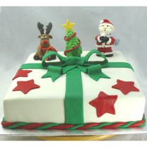 Christmas Gift Box Cake with Santa Rudolph & Tree (D, V)