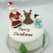 Christmas with Santa, Rudolph and snowman Cake (D, V)