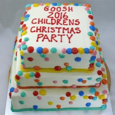 Corporate - 3 Tier Buttercream Icing with Rainbow Dots (D, V)