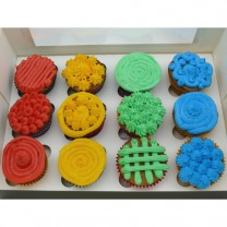 CupCakes with Coloured Buttercream ($35 per dozen) (D, V)