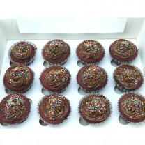CupCakes with Chocolate Buttercream & Sprinkles ($37 per dozen) (D, V)