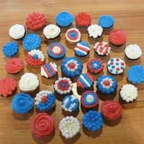 CupCakes with Red, White & Blue ($35 per dozen) (D,V)