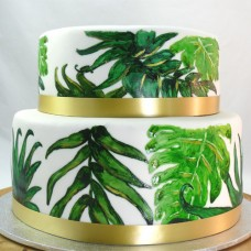 2 Tier Palm Leaves Painted Cake (D,V)