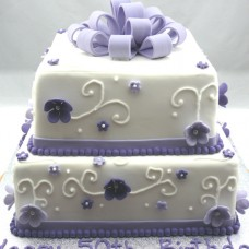 Gift Box Cake: Bow  Flower 2 tier (D,V)
