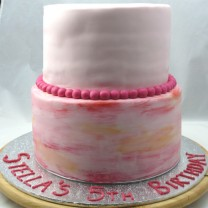 2 Tiers of 3 Layers Watercolour cake (D,V)