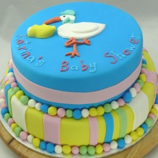 2 Tier Stork Baby Shower  Cake (D,V)