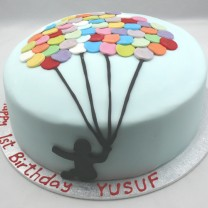 Multi Coloured Balloon Cake - 1 Silhouette (D, V)
