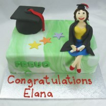 Graduation  Book and Figurine Cake (D,V)
