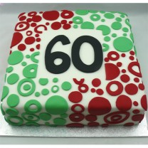 Square Fondant Cake with Circles (D, V)