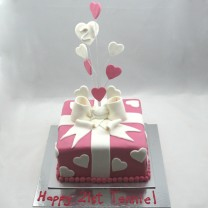Gift Box: Upright Bow with Hearts (D,V)
