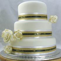 Wedding Cake Gold Trimmed Roses and Ribbon (D)