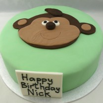 Fondant with Flat Monkey Topper (D,V)
