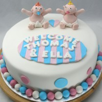 Baby Shower Cake: Twin Baby Shower Cake (D,V)