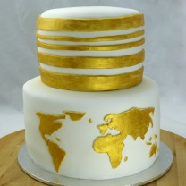 2 Tier Map of the World Cake (D,V)