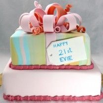 Gift Box Cake: Square Fondant with One Tie Dye Tier (D,V)