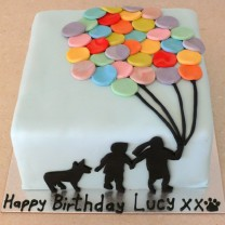 Multi Coloured Balloon Cake -  3 Silhouette (D, V)