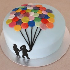 Balloon - Multi Coloured Balloon Cake - 2 Silhouette (D, V)