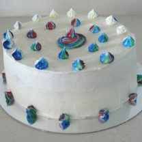 Buttercream Icing with Rainbow Swirls (D, V)