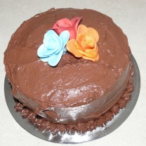 Chocolate Buttercream Icing Waves with Fondant Flowers (D, V)