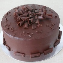Ganache with chocolate curls & curl border
