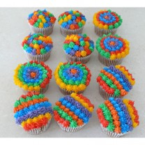 CupCakes with Rainbow Buttercream ($35 per dozen) (D,V)